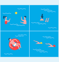 Swimming pool activities set vector