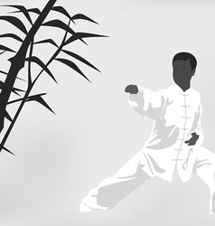 The man engaged kung fu on a black white vector