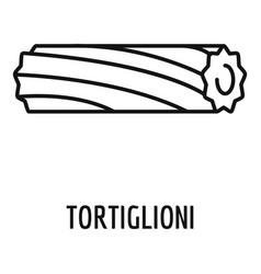 tortiglioni pasta icon outline style vector image