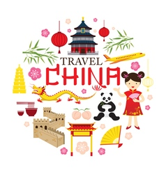 Travel China Icons Label vector