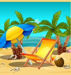 Tropical beach at noon lounger under an umbrella vector