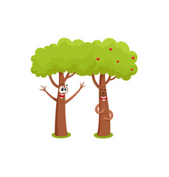 two funny tree characters hugging showing love vector image