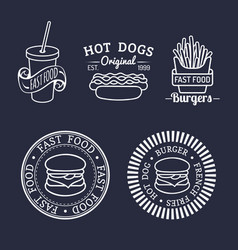 Vintage fast food logos set retro eating vector