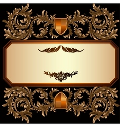Vintage frame with heraldic detailed golden floral vector
