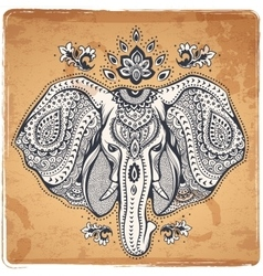 Vintage Indian elephant with tribal ornaments vector