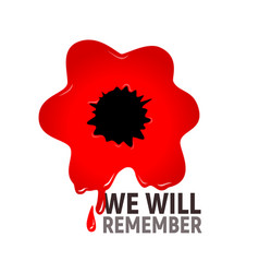 We will remember red poppy in blood vector