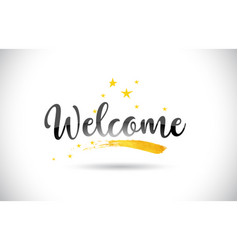 Welcome word text with golden stars trail and vector