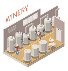 wine production isometric composition vector image