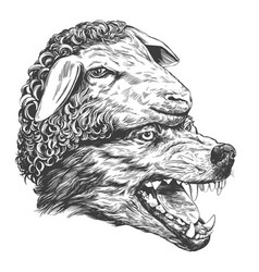 Wolf in sheep s clothing christian parable hand vector