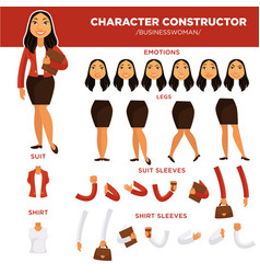 woman character constructor businesswoman face vector image