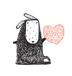 woolly sheep sitting and heart vector image