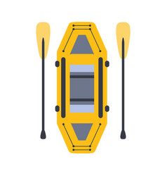 Yellow inflatable raft with two peddles part of vector
