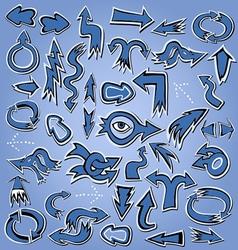 blue arrows icon set for web page design esign vector image
