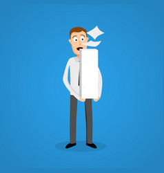 business man and paper ream a lot of work vector image vector image