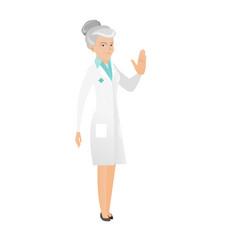 caucasian doctor showing stop hand gesture vector image vector image
