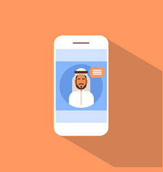 cell smart phone with muslim man chat media vector image