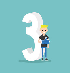 number three concept young smiling nerd standing vector image vector image