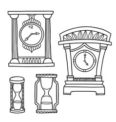 set of doodle hand drawn watches isolated vector image