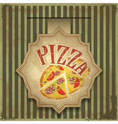 vintage card menu - pizza label vector image