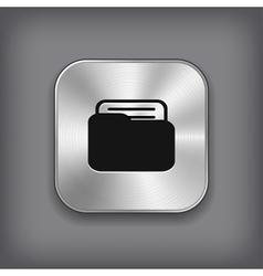 Folder icon - metal app button vector image vector image