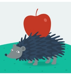 Forest hedgehog carries apple vector image vector image