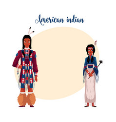 native american indian couple in traditional vector image vector image