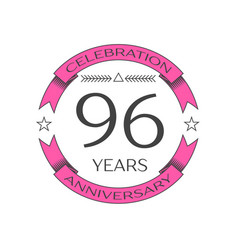 Ninety six years anniversary celebration logo vector