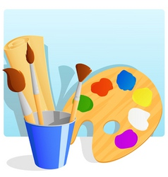 paintbrush and palette vector image vector image