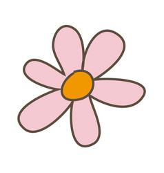 pink flower with oval petals icon vector image vector image