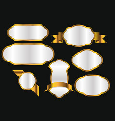 premium quality golden labels collection design vector image