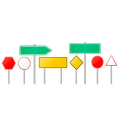 Road signs red and yellow empty banners vector
