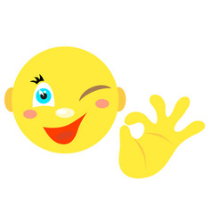 smiley with a gesture ok vector image vector image