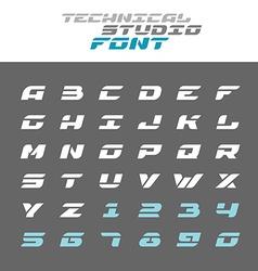Tech letters stencil font Wide bold italic techno vector image