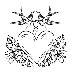 two swallows carry heart decorated with flowers vector image