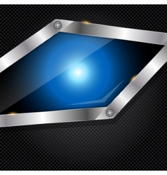 Abstract metal and glass background with frame vector image vector image