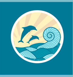badge with sea wave sun and dolphin vector image