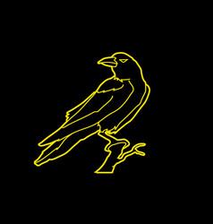 Crow on tree graphic vector