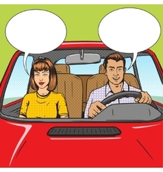 Family couple in car pop art style vector image