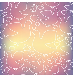 Silhouette of white birds and hearts vector image