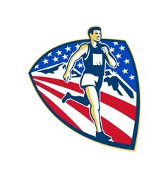 American Marathon Runner Running Retro vector image