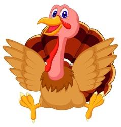 Cute turkey cartoon vector image