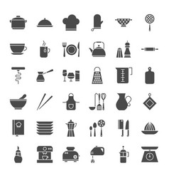 kitchen utensils solid web icons vector image vector image