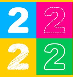 number 2 sign design template elements four vector image