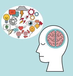 profile human head brain learn creativity vector image vector image