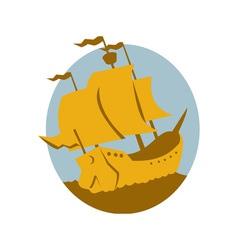 sailing ship galleon retro vector image