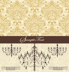 vintage damask invitation card with chandelier vector image vector image