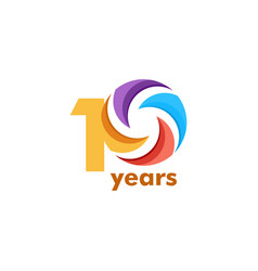 10 year anniversary rainbow template design vector