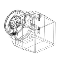 3d model of the safe on a white vector image