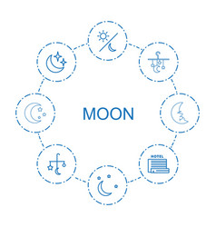 8 moon icons vector image