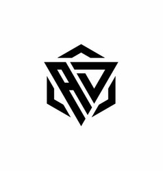 Ad logo monogram with triangle and hexagon modern vector